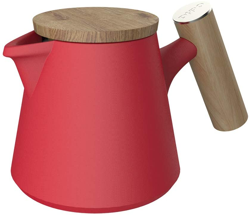 HPO - Porcelain Teapots Ceramic - 27-ounce (4-6 cups) - Matte Finish - Wooden Lid and Handle and Stainless steel Extra-Fine Infuser To Brew Loose Leaf Tea (800ML, Red)