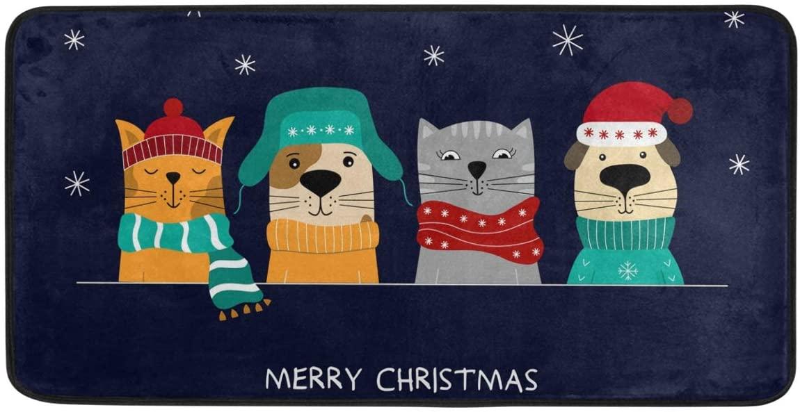 Kitchen Rugs and Mats Non-Slip Doormat Merry Christmas Dog Cat Home Decor Floor Rug Standing Mat, Washable Hypoallergenic Waterproof (39