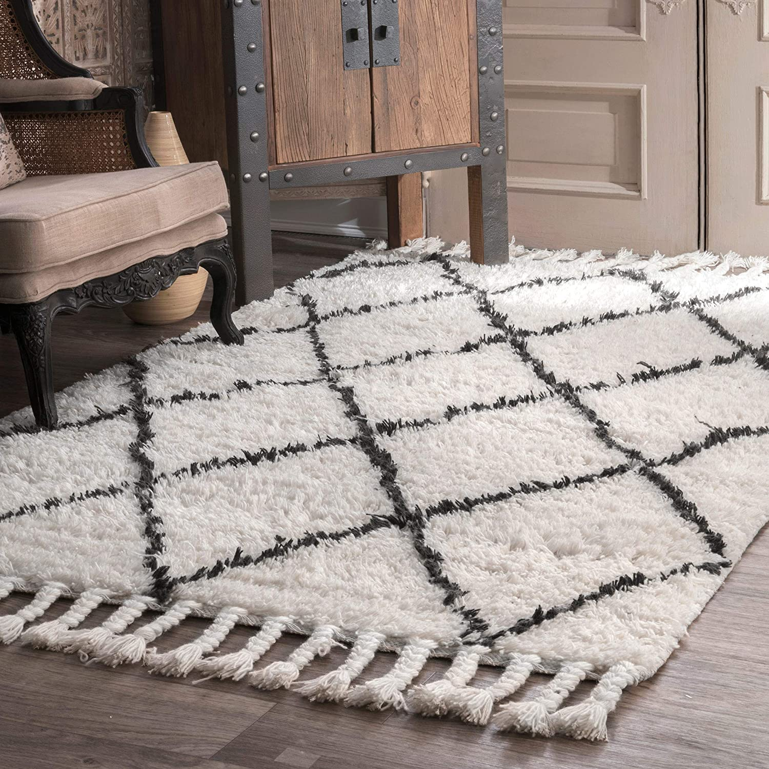 nuLOOM Venice Moroccan Shag Rug, 8' Square, Natural