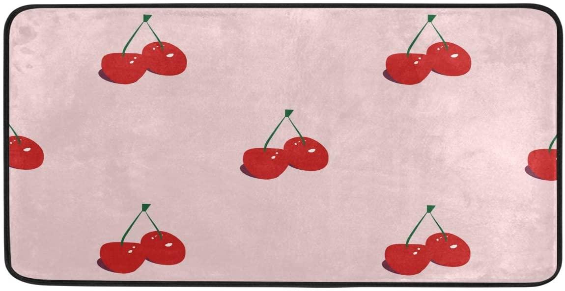 FORMEETY Fruit Cherry Pattern Long Floor Mat Washable Area Rug Pads Kitchen Rug Doormat Carpet for Living Room Indoor Outdoor Bathroom Entryway