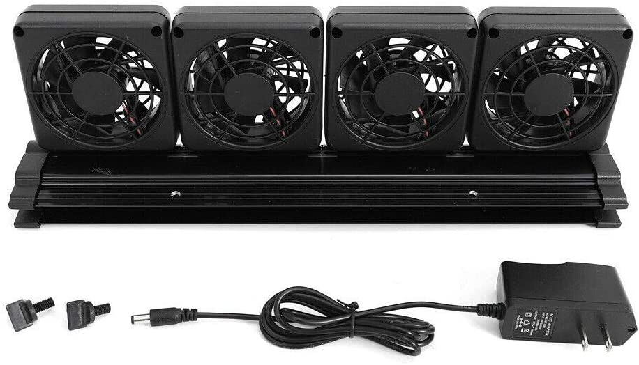 WUPYI Adjustable Aquarium Chillers Cooling Fan,Aquarium Water Cooling Fan Fish Tank Cold Wind Chiller 2 Level,with DC12V Power Adapter,6 Fan