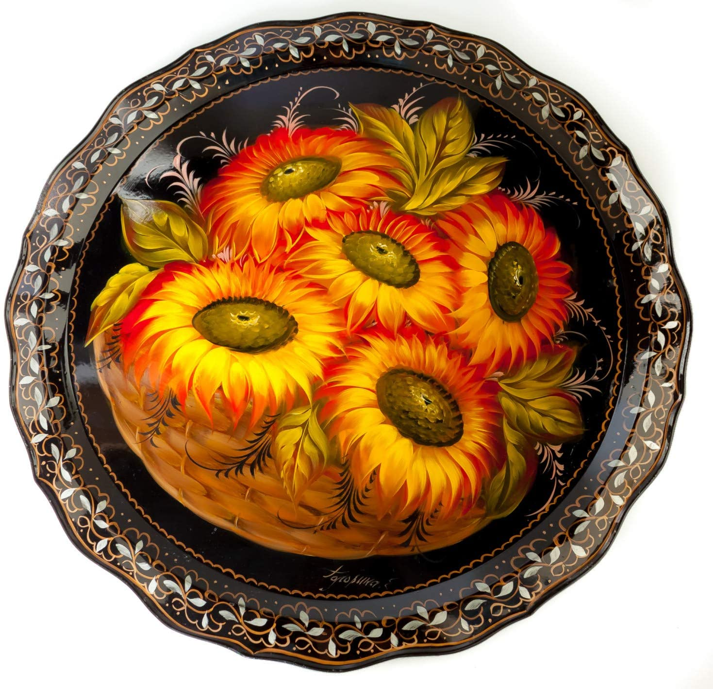 d 420 mm Sun Flowers & Zhostovo Patterns Hand Painted and Lacquered by Golovina Metal Forged Tray