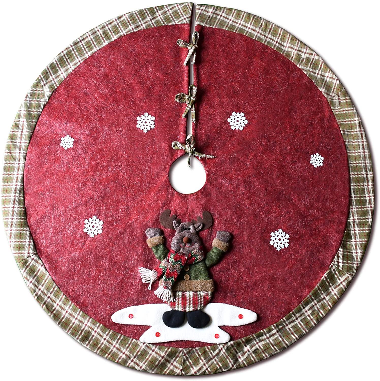 YuQi Christmas Tree Skirt, 48 inch Plaid Edge Linen Burlap Tree Skirt Mat with 3D Elk for Indoor Outdoor Christmas Decorations Home and Holiday Party