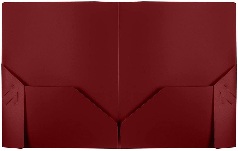 Poly Folders - Heavy Duty Two Pocket Folders for School, Documents, Classrooms, Homeschool Supplies, 0.16 Maroon Folder - 25 Pack - PF-0916-MA-25