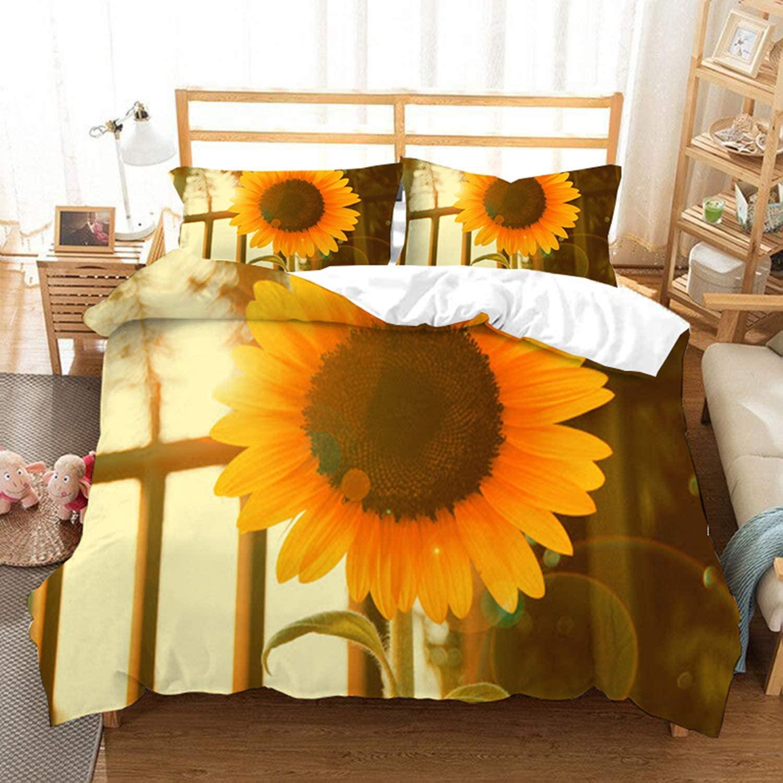 WuliDress 3D Sunflowers Bedding Set Twin Size 3D Print Floral Duvet Cover Sets 2Pcs 1 Duvet Cover 1 Pillow Sham