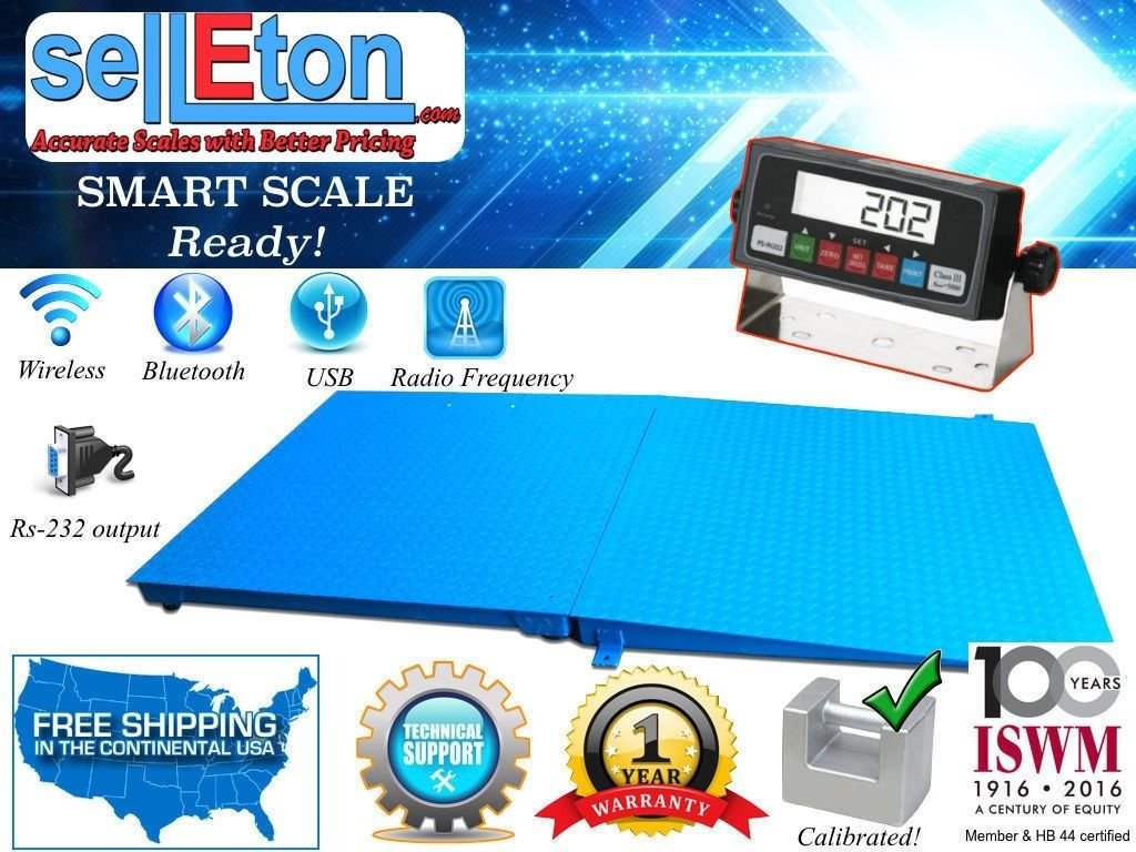 Selleton 48 X 48 Pallet Size Floor Scale with A Ramp, 5000 Lb X 1 Lb