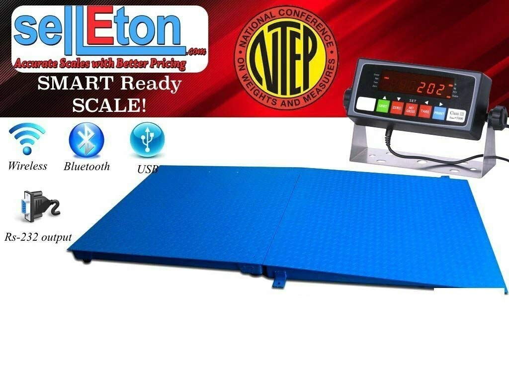 Selleton Ntep 4' X 4' (48'' X 48'') Floor Scale with Ramp 1,000 Lbs X 0.2 Lb/Pallet Size