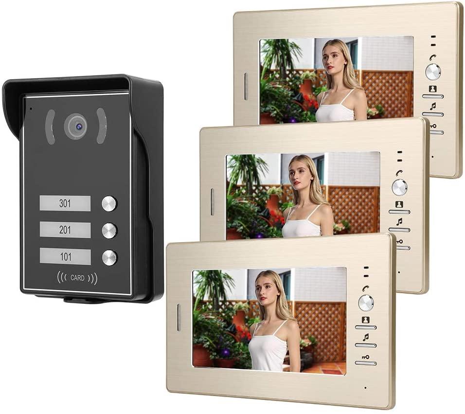 Jadpes Video Doorphone, 3 Monitors 7inch Door Phone System, for Access(American Standard (110-240V))