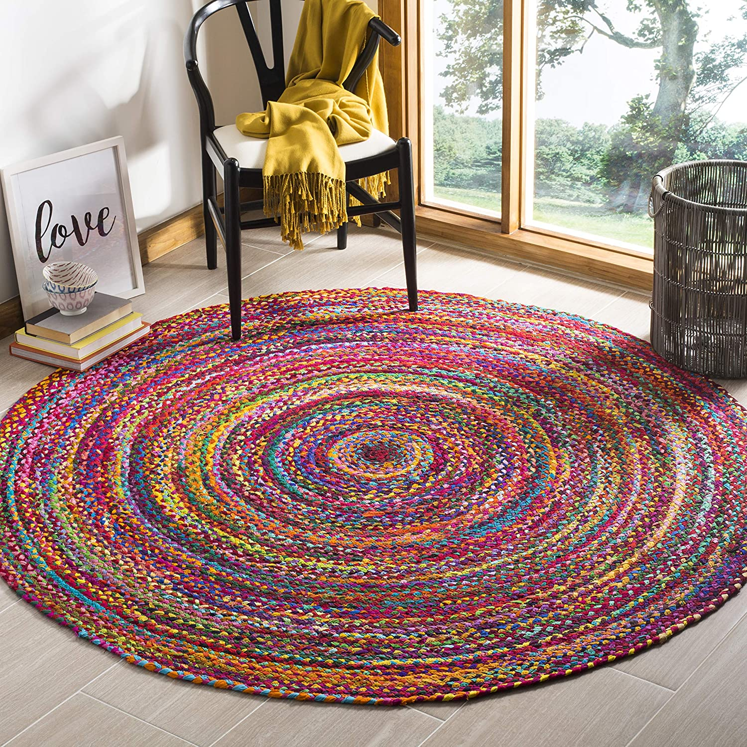 Safavieh Braided Collection BRD210A Hand-woven Bohemian Cotton Area Rug, 4' Round, Red/Multi