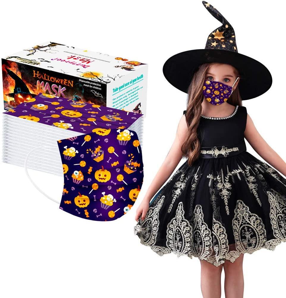 50pcs Face Bandanas Breathable Seamless Cute Print Cloth Children Anti-Fog Disposable Face Bandanas- Breathable 3 ply - Halloween (Disposable 50PCS, Halloween D)