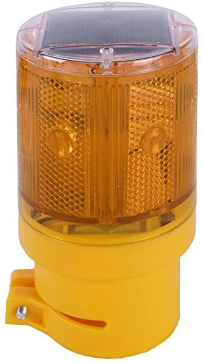 RISOON Solar 6 LED Waterproof Strobe Warning Light, Wireless Install for Garden Warning Lamp,Flashing Barricade Light, Road Construction Safety Signs, Flash Traffic Light,Crane Tower (Yellow)
