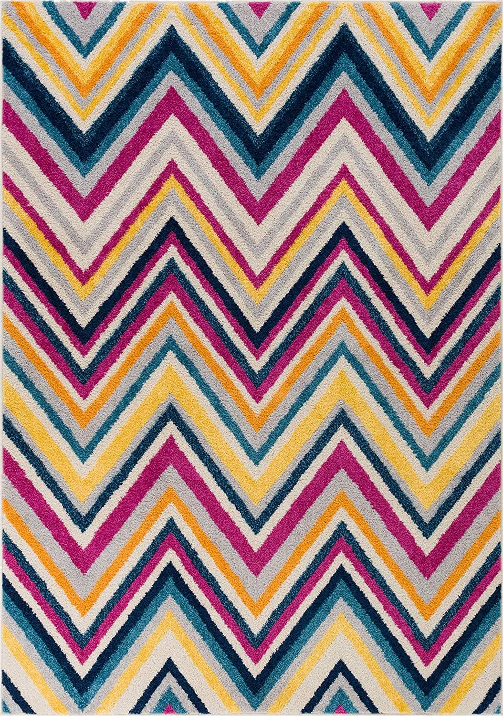 HOMEWAY Pattern Rugs - Zig Zag Modern Area Rug Multicolor 3'3'' x 5' Carpet