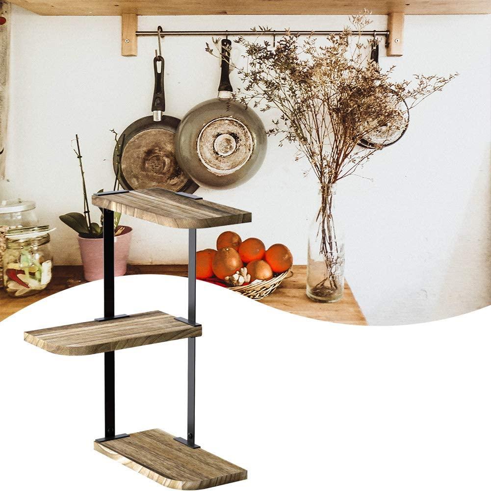 Tuankay 3-Tier Storage Shelving Unit, Corner Shelf Rustic Wood Floating Shelves for Bedroom,Living Room,Bathroom and Kitchen