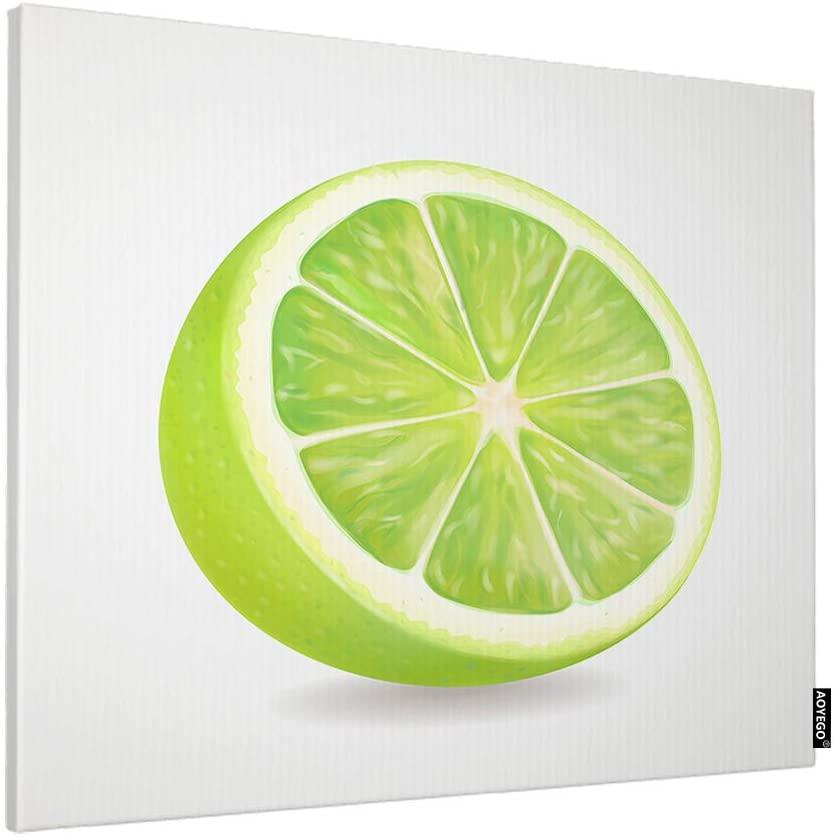 AOYEGO Lemon Wall Decoration Green Lime Slice Juice Fresh Fruit Artwork Print Large Canvas Paint Print for Bathroom Women Men 24x20 Inch