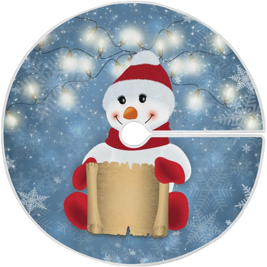 ALAZA Snowman Christmas Tree Skirt Ornament 48inch Diameter Christmas Decoration New Year Party Supply(v)
