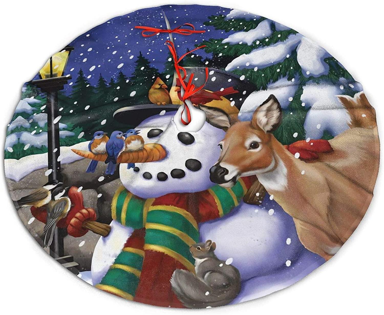 antkondnm Snowfall Gathering Winter Snowman Deer 36 Inch Christmas Tree Skirt Mat Holiday Party Decorations
