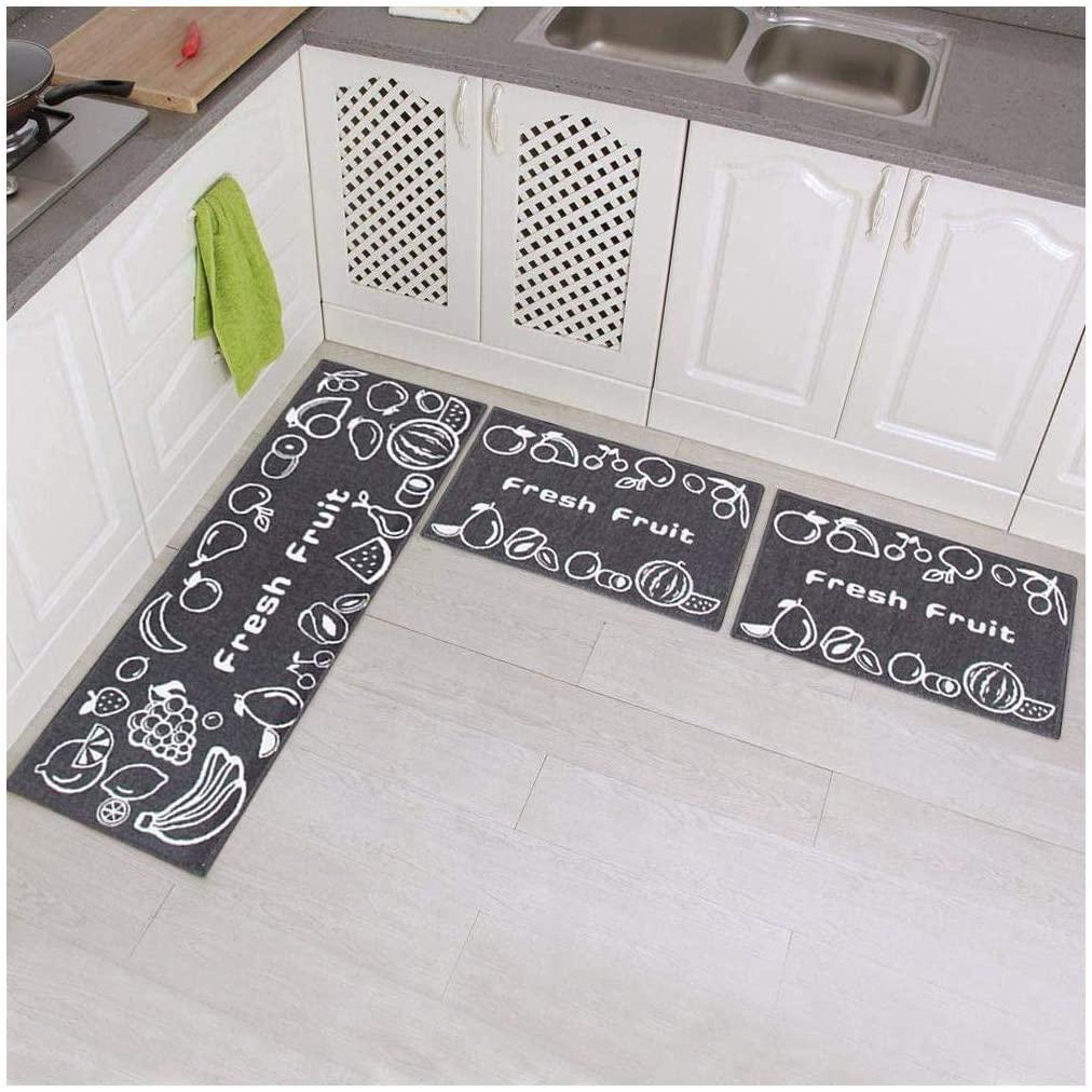 Aincanlx 3 Piece Non-Slip Kitchen Mat Rubber Backing Doormat Runner Rug Set, Fruit Design (Grey 15