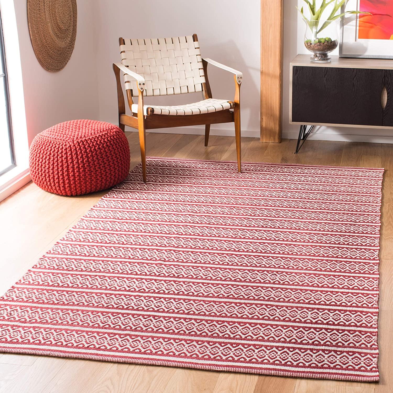 Safavieh Montauk Collection MTK341C Handmade Flatweave Ivory and Red Cotton Area Rug (6' x 9')