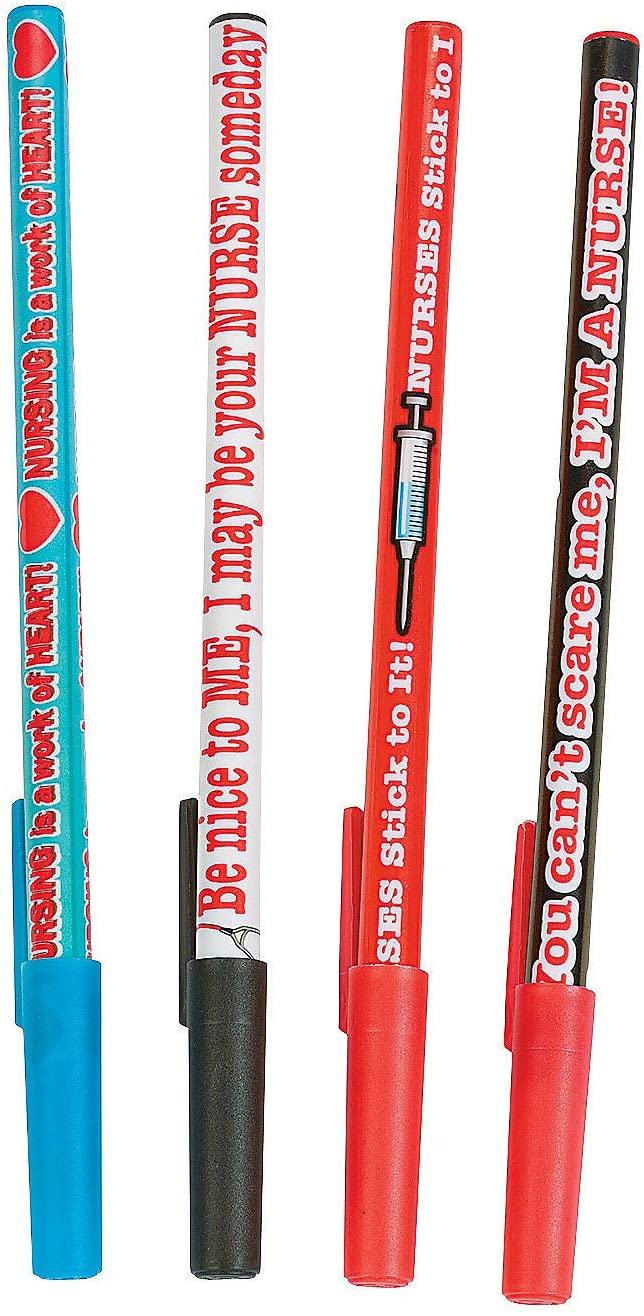 Nurse Stick Pens (4 Fun Designs with Sayings) Set of 24 Pieces