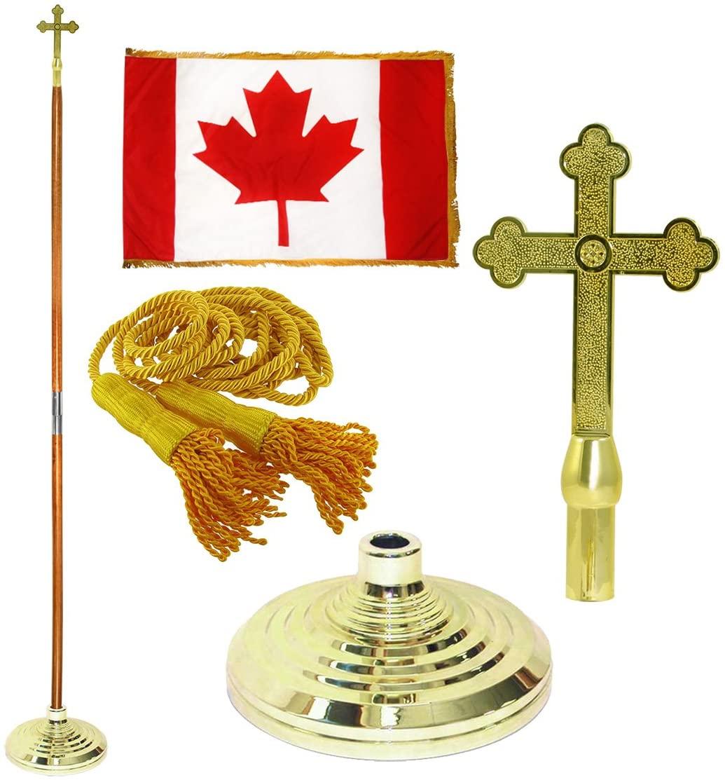 Super Tough Canada 3ft x 5ft Flag, Flagpole, Base, and Tassel (Fancy Cross Plastic, 8 Ft Oak Pole)