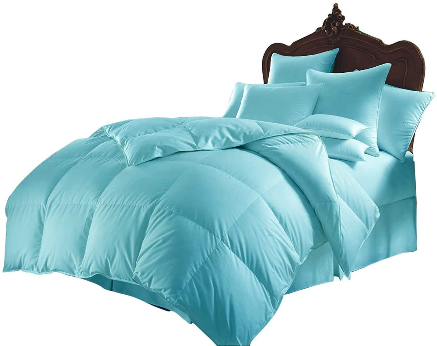 All Season Luxurious 800 Series,Luxury Goose Down Alternative Comforter, Oversized-King Size - Quilt 1 Pc Comforter -100% Egyptian Cotton Comforter Set, Hotel Quality 600 GSM,Aqua Blue,(98