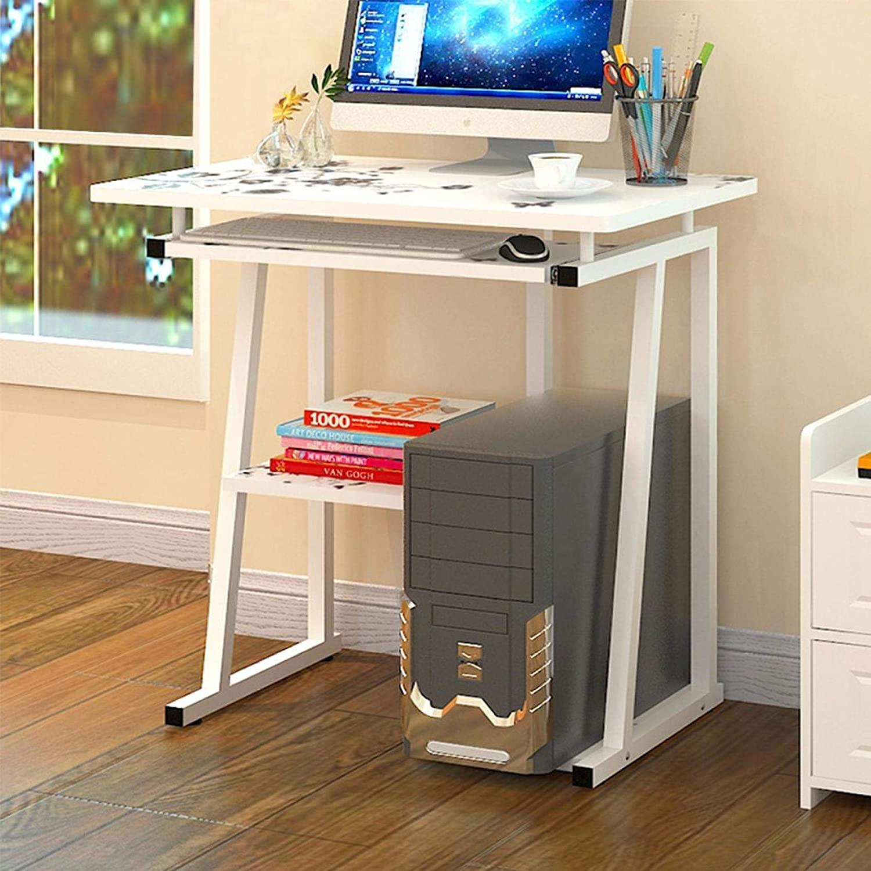 Zunjikelon Desktop Computer Desk Laptop Study Table Office Desk with Pullout Keyboard Tray Home Desktop Computer Desk Simple Student Desk Office Bedroom Study Desk for Home Office,US Sending (White)