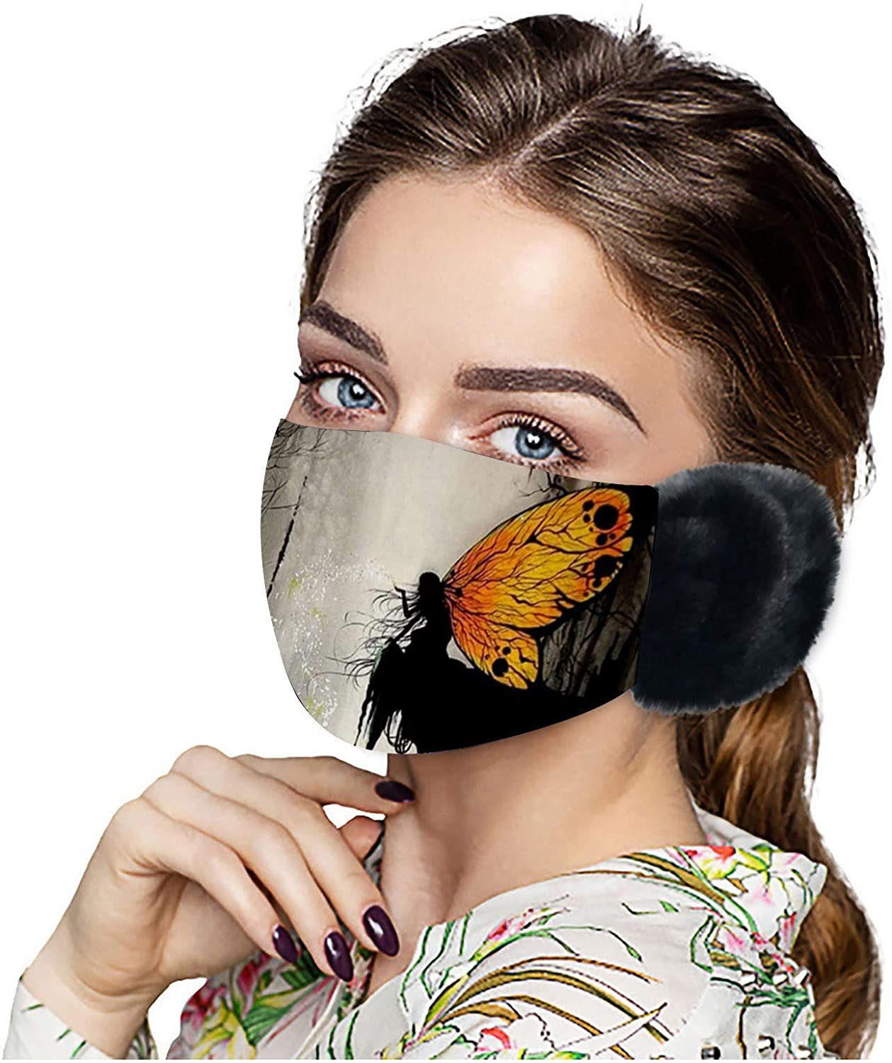 Adult Unisex Butterfly Printing Face_mask Washable Keep Warm Breathable Windproof Reusable Outdoor Sport Winter Face_Cover Fashion Stretch Lightweight Face Macks