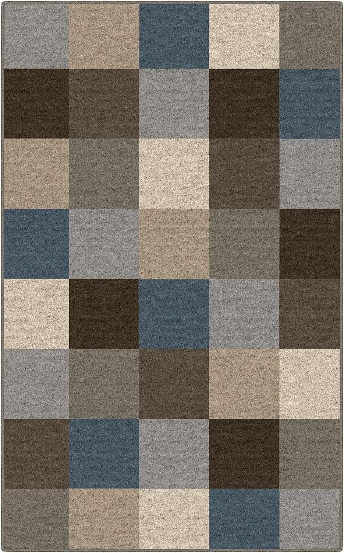 Brumlow Mills Contemporary Blue Color Blocks Modern Area Rug, 2'6