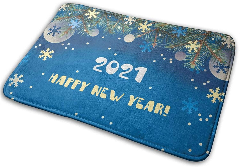 YINCHAOJI Bathroom Rugs Bath Mat Door Mats Blue Snowflakes Happy New Year Memory Foam Front Kitchen Rug Carpet for Kitchen Hall Inside Outdoor 15.7 X 23.5 in