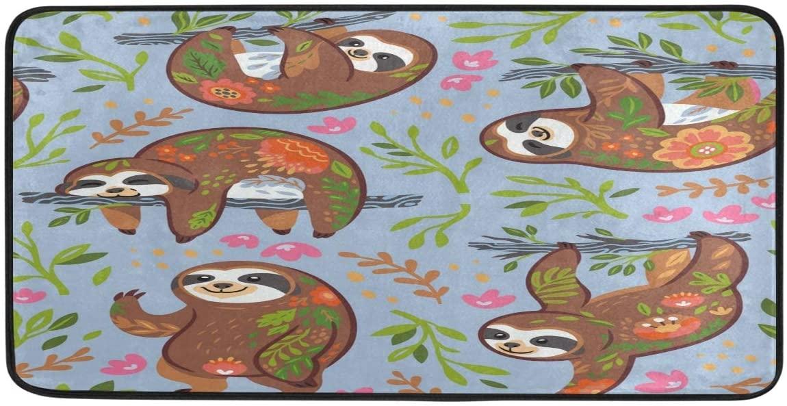 FORMEETY Cute Sloth Flower Floral Long Floor Mat Washable Area Rug Pads Kitchen Rug Doormat Carpet for Living Room Indoor Outdoor Bathroom Entryway