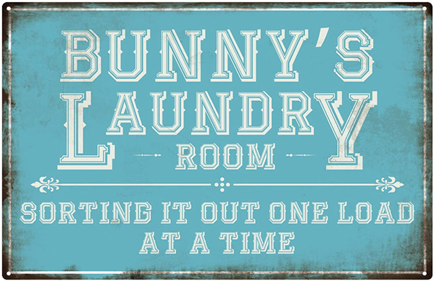 Personalized Laundry Sign,Custom Vintage Laundry Room Decor Wall Sign, Laundry Room Metal Decorative Sign 12 X 16 Metal