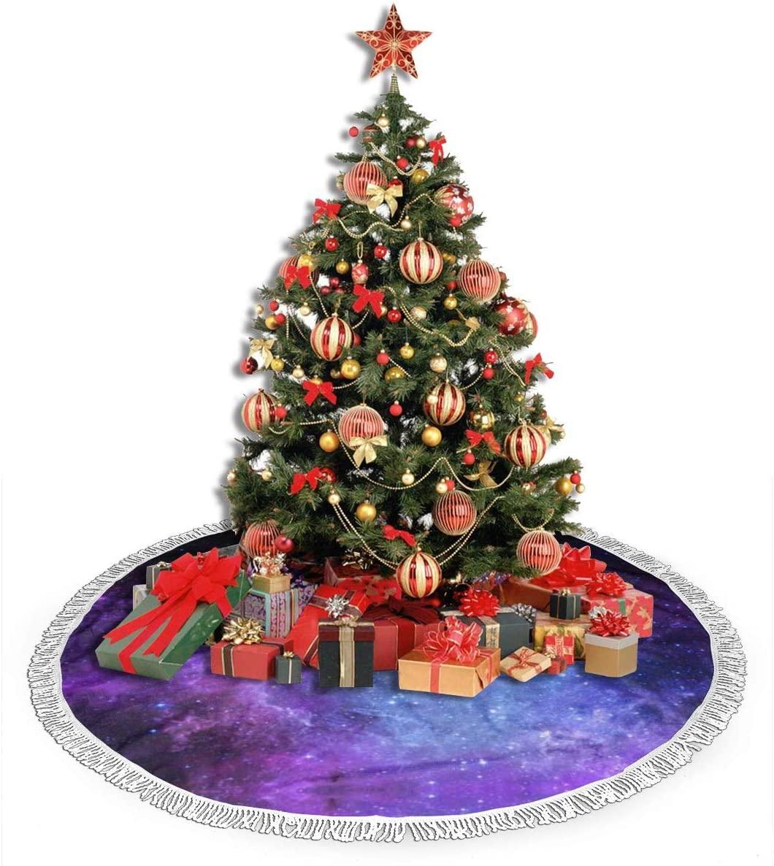 ULQUIEOR Christmas Tree Skirt Purple and Blue Galaxy Tree Mat with Tassel Xmas Tree Skirt for Holiday Christmas Decorations Xmas Decorations 48 Inch