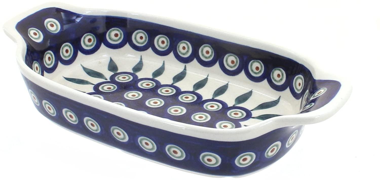 Blue Rose Polish Pottery Peacock Rectangular Serving Dish