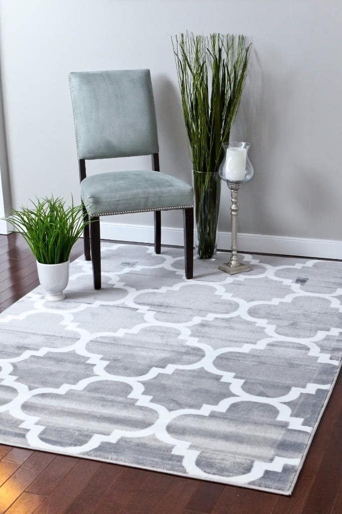 4518 Gray Moroccan Trellis 3'9x5'3 Area Rug Carpet Large New
