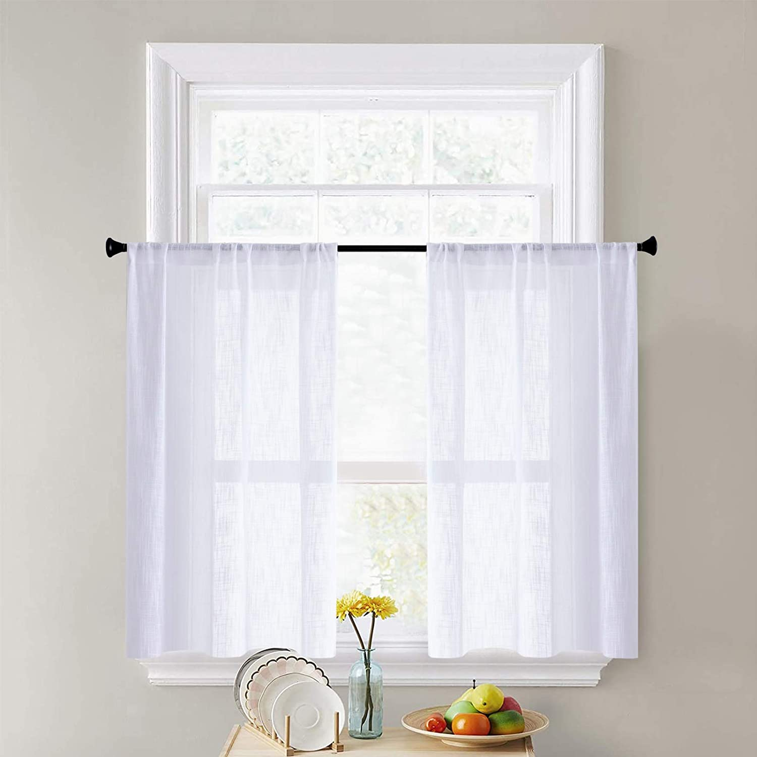 CUTEWIND White Sheer Tier Curtains for Bathroom Short Kitchen Tiers 24 Inches Long Linen Texture Rod Pocket Small Half Window Treatment (2 Panels, White, W25×L24 Inches)