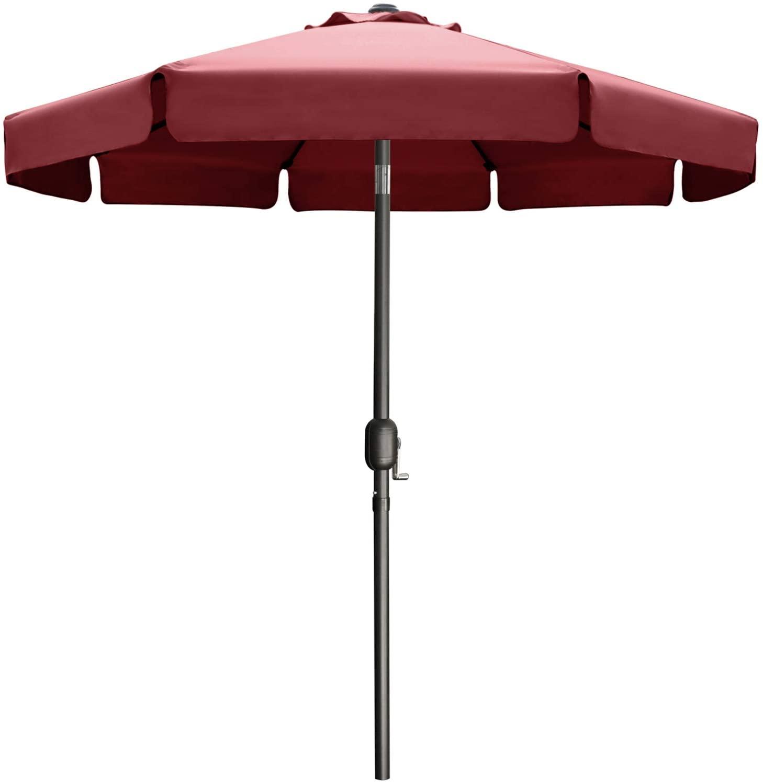 MASTERCANOPY Patio Umbrella OutdoorMarket Table Umbrella with Ruffles, 8 Sturdy Ribs (9FT, Burgundy)