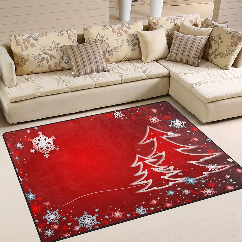 UMIRIKO Area Rug for Bedroom Merry Christmas Tree Indoor Area Rug Red Carpet Garden Floor Mat Non Slip Rugs for Kitchen 63 x 48 in 2021022