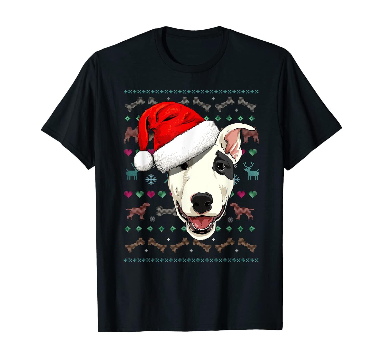 Bull Terrier Ugly Christmas Dog Santa Hat Xmas Boys Kids T-Shirt