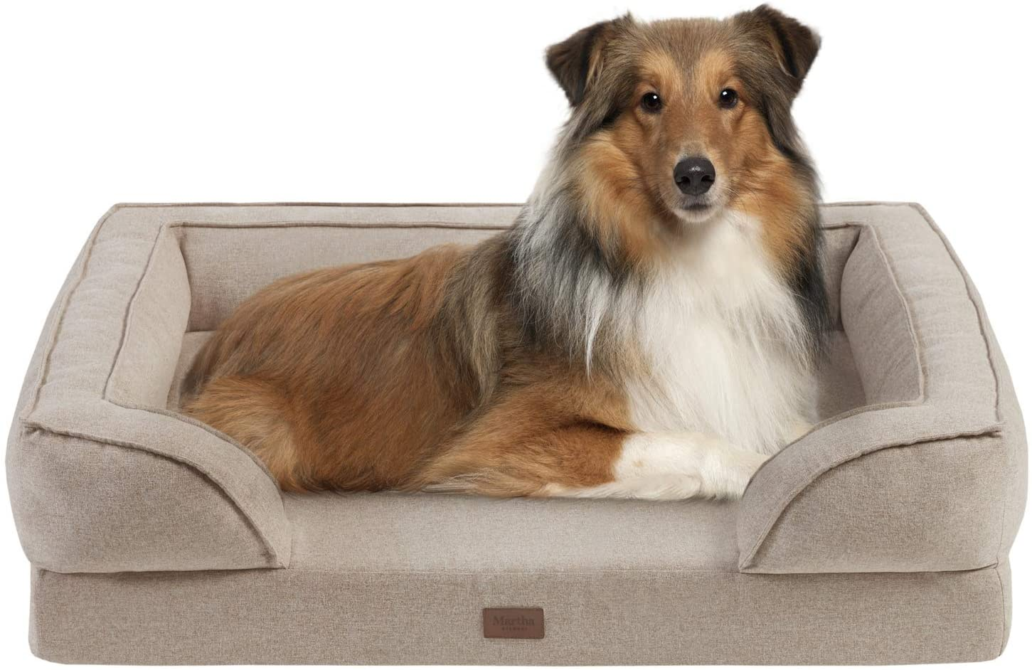 MARTHA STEWART Orthopedic Dog Lounge Sofa, Removable Cover All Around Protection Four Sided Bolster Comfie Pet Beds
