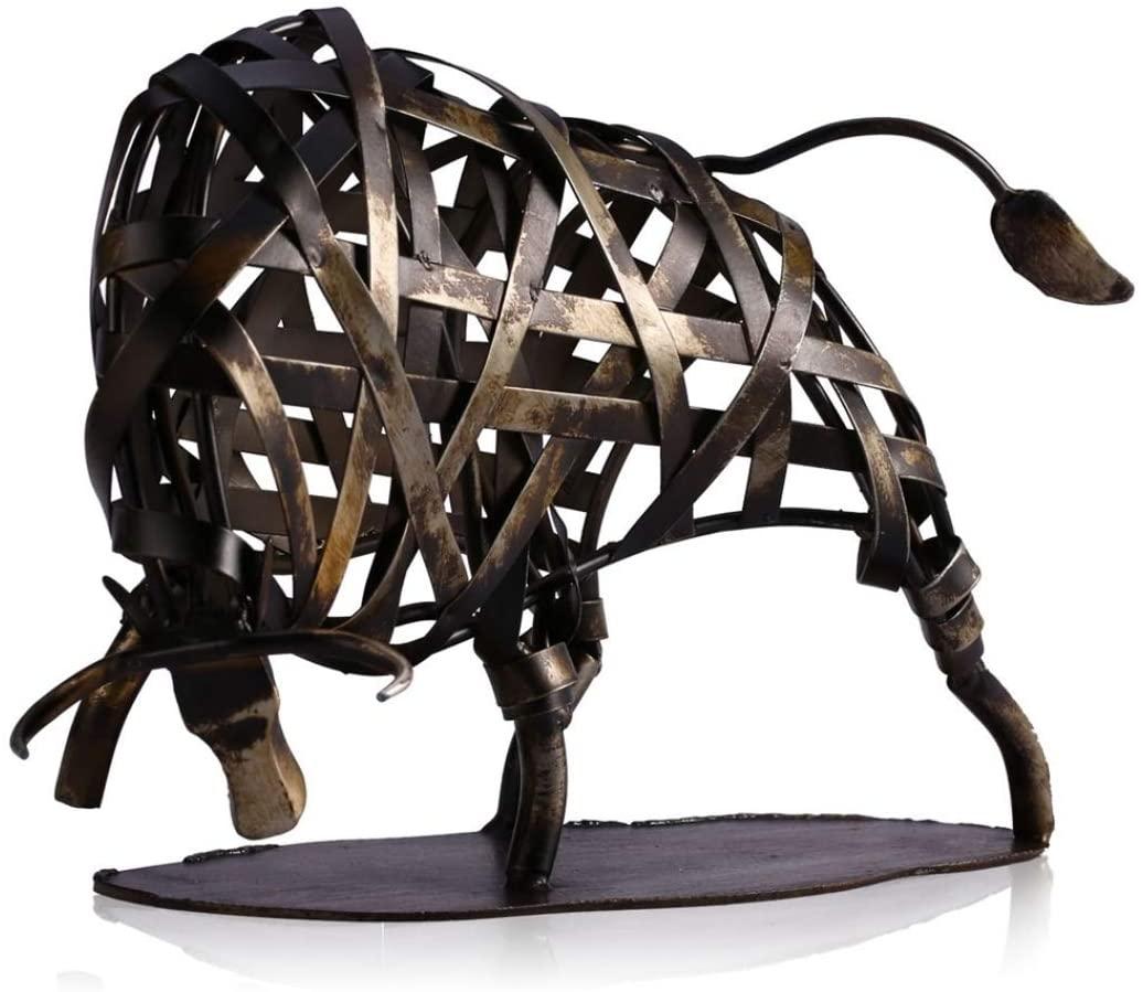UKURO Metal Cow Sculpture Iron Braided Cattle Statue Articles Handmade Crafts Home Art Decoration Gift