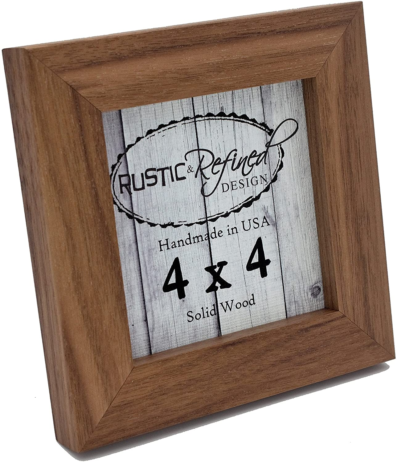 Rustic and Refined Design 4x4 Solid Wood Made in USA Picture Frame with 1 Inch Border (Gallery Collection) - Black Walnut