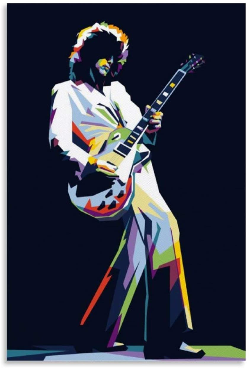 haohaizi Jimmy Page Led Zeppelin Canvas Art Poster and Wall Art Picture Print Modern Family Bedroom Decor Posters 20x30inch(50x75cm)