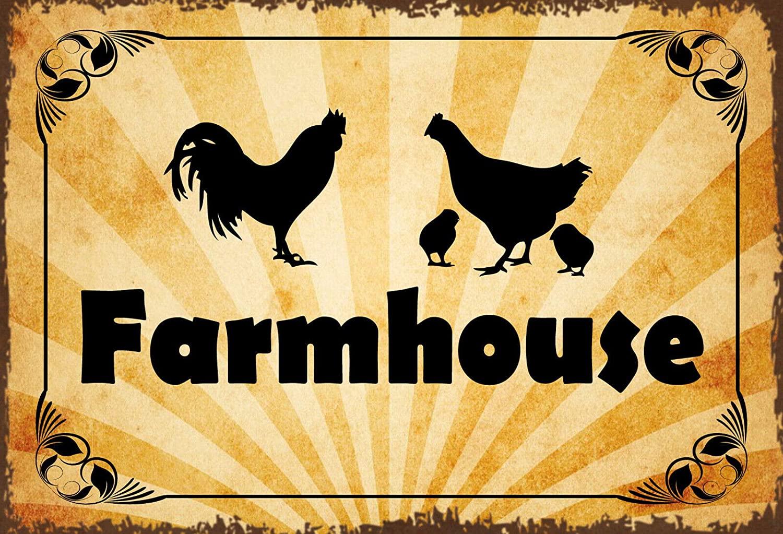 Retro Vintage Metal Tin Sign Farmhouse Chicken Outdoor Home Bar Wall Decor Signs 12X8Inch