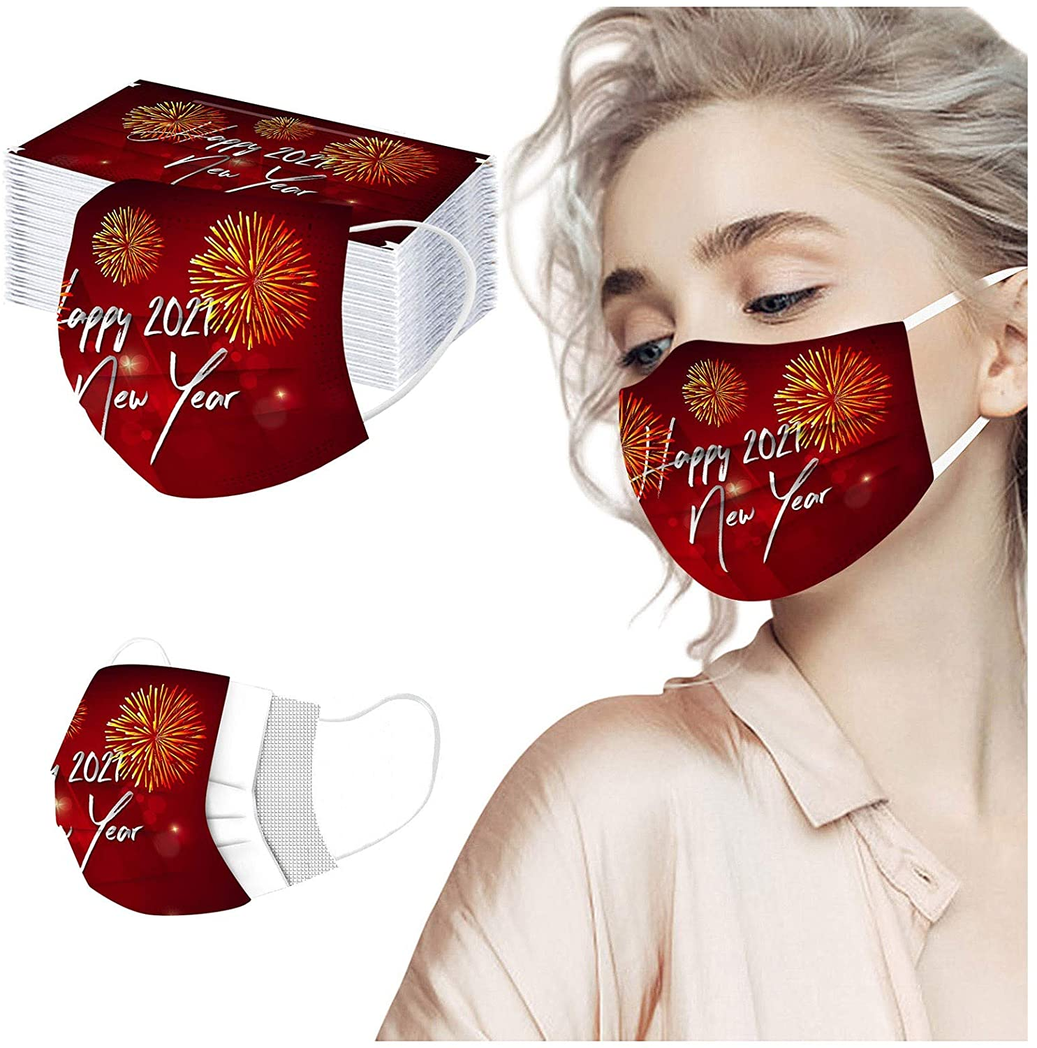 50 Pcs Disposable Face_Mask for Women, Men - 2021 New Year Printed Anti Dust 3 Layer Face Protection Bandanas