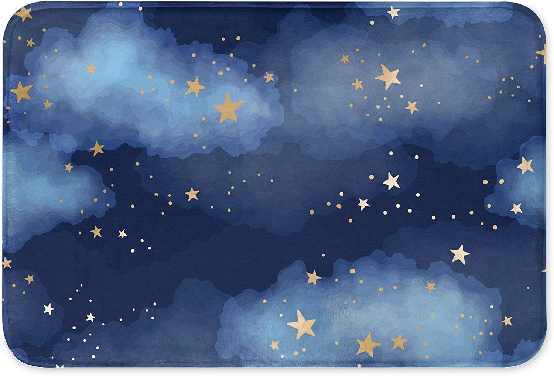 Gold Stars in Dark Blue Sky Bath Mat 15.8