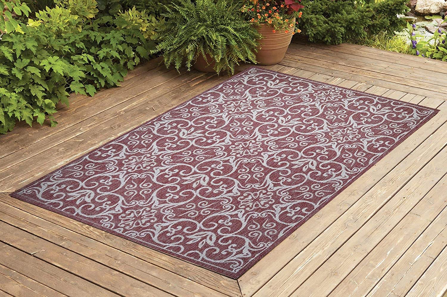 Benissimo Indoor Outdoor Rug Rams Horn Collection, Natural Sisal Woven and Jute Backing Area Rugs for Living Room, Bedroom, Kitchen, Entryway, Hallway, Patio, Farmhouse Decor 8x10, Brick