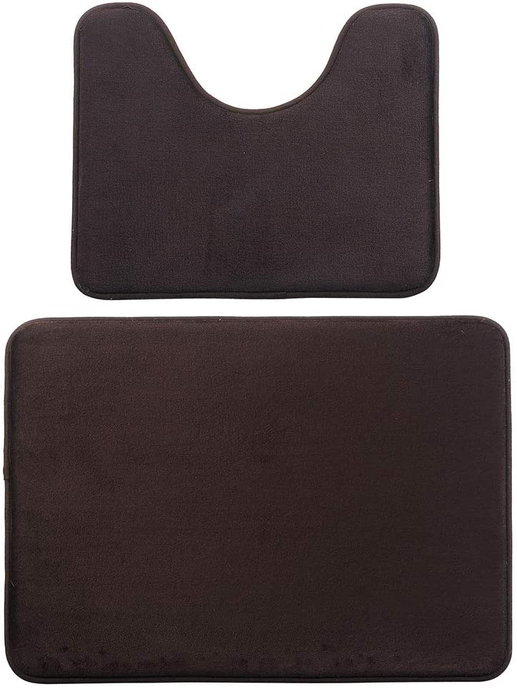Beacon Pet Memory Foam 2 Pieces Bathroom Rugs Sets - Non-Slip Thick Bath Mat and U-Shape Contour Toilet Rug, Absorbent Washable Bathroom Rugs and Mats Set