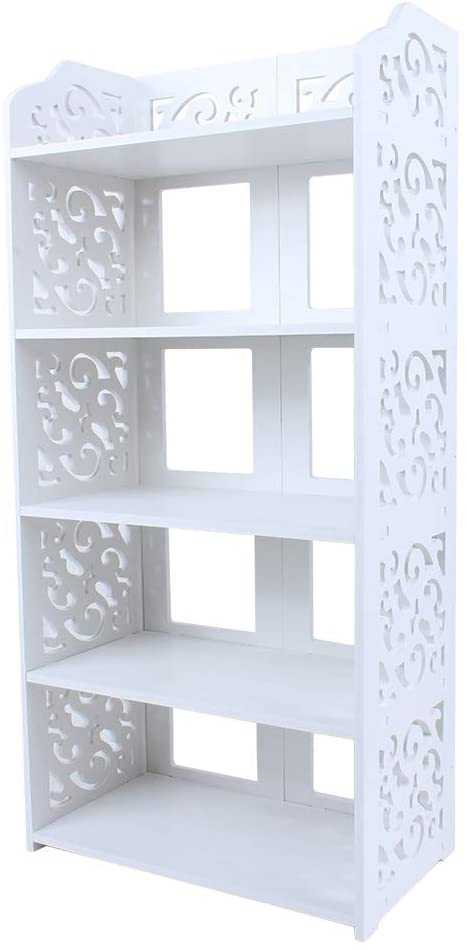 5 Tier Shoes Rack, White PVC Plastic Modern Chic Hollow Out Shoe Tower, Free Standing Shoes Storage Organizer for Home Office