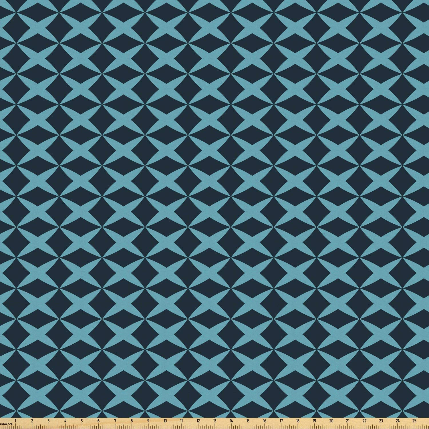 Ambesonne Blue Fabric by The Yard, Wire Inspired Floral Like Image Thick Crossed Horizontal Lines Image, Microfiber Fabric for Arts and Crafts Textiles & Decor, 1 Yard, Slate Blue and Pale Blue