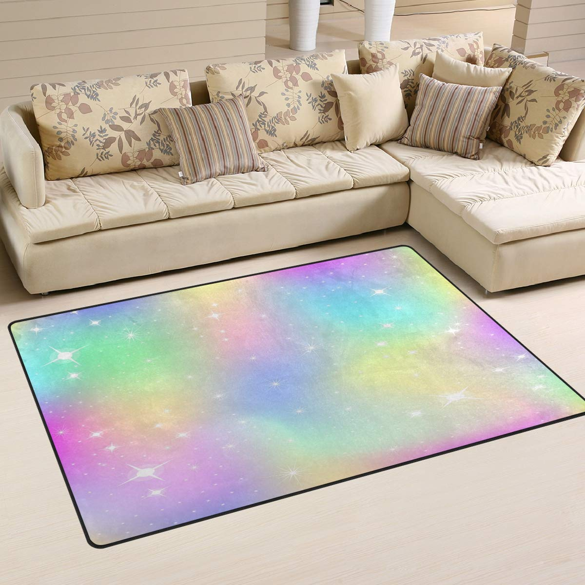 ALAZA Home Decor Unicorn Background with Rainbow Mesh Area Rug Carpet, Rugs Floor Carpet Mat Living Room Carpet for Girl's Room Home Indoor Decor 3'x5'